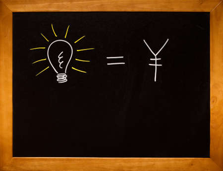 sign equals: Light bulb and the financial gain made from good ideas