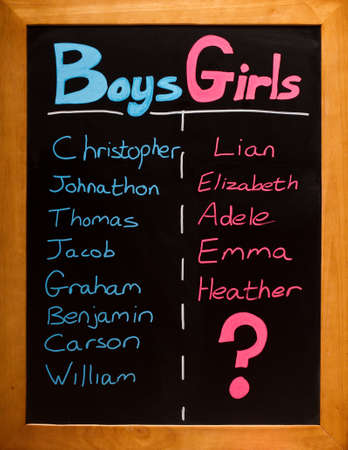 List of girls and boys names on a blackboard