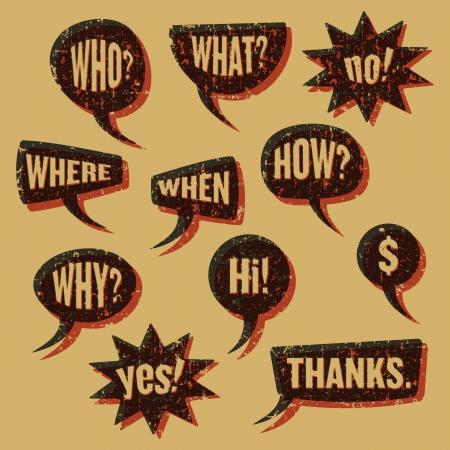 question mark background: Speech bubbles vintage print Illustration