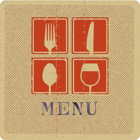 Impresión de la vendimia de la cubierta del menú Foto de archivo - 19304728