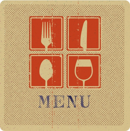 Vintage print of menu cover Stock Illustratie