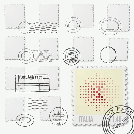 Marcos irregulares sello en blanco con matasellos Foto de archivo - 19505786