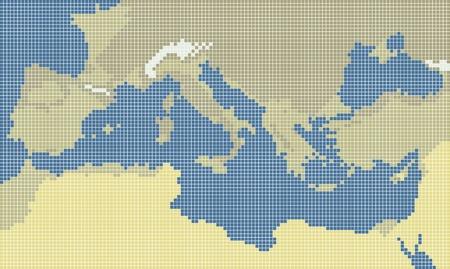 south italy: Mediterranean pixel map
