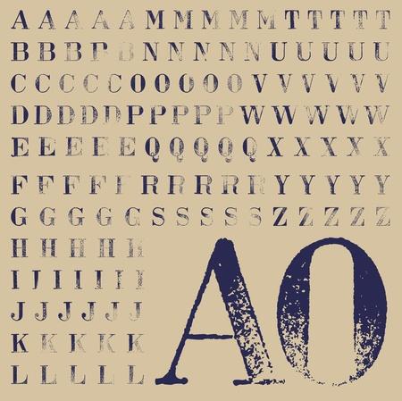 tipos de letras: Juego de sello de goma caracteres Bodoni, al menos cinco soluciones para cada uno
