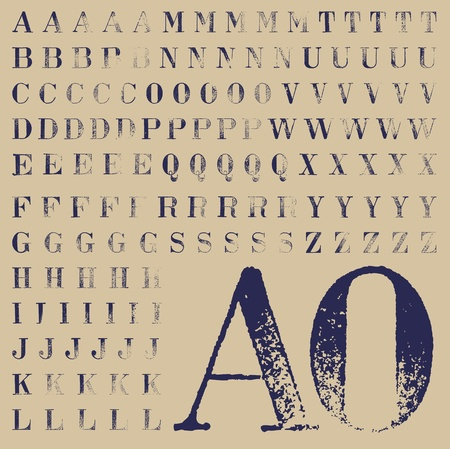 Set of rubber stamp bodoni characters, at least five solutions for each one