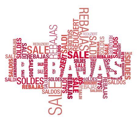 Cloud of international words of sale advertise, english focused