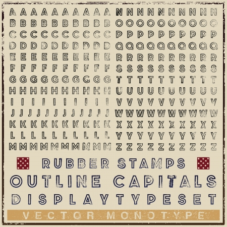 Typeset of rubber stamp outline characters