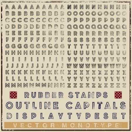 display type: Tipografiada caracteres esquema del sello de goma