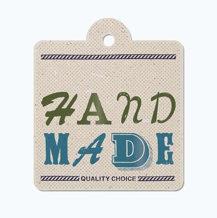 hand made: Tipograf�a vintage impreso que cuelga la etiqueta (hecha a mano) Vectores