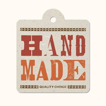 made by hand: Vintage letterpress printed hanging label (hand made) Illustration