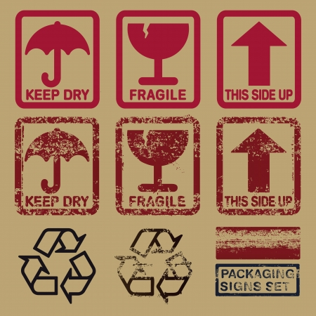 set of packaging signs in plain and grunge skin Stock Illustratie