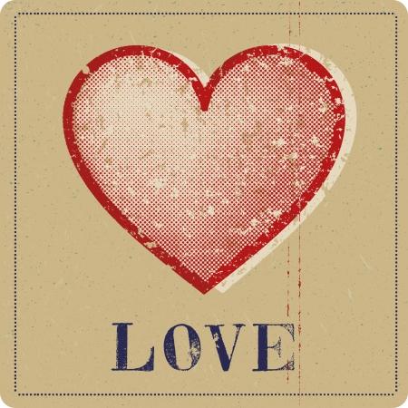screen print: Vintage printed heart Illustration