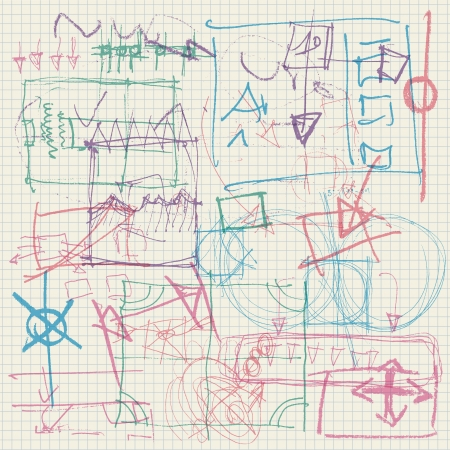 abstract pen scribbles on squared paper Stock Illustratie