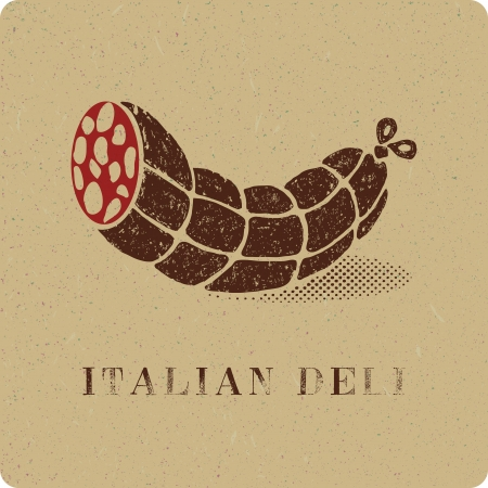 Vintage print of salami deli