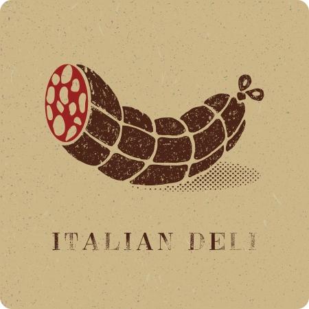 Vintage print of salami deli Vector