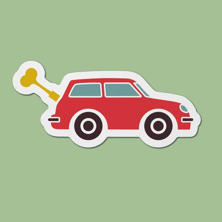 Spring toy car with key printed on contoured cardboard Vector