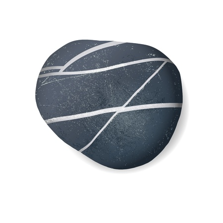 Pebble Beach: black striped pebble on white background
