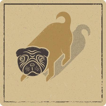 Fanny pug printed on butcher paper Stock Illustratie