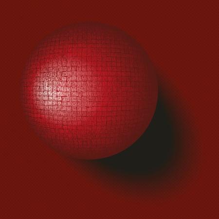 scribbling: Dark red textured sphere on plane Illustration