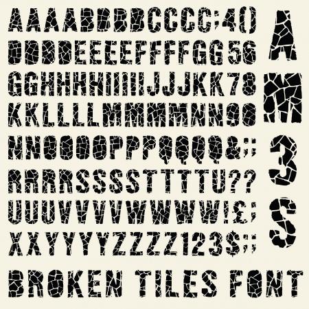 typeset: Broken tiles (trencadis) typeset whith different solutions for each type Illustration