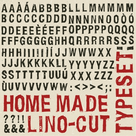 xilografia: Hecho en casa grabado en madera tipografía Vectores