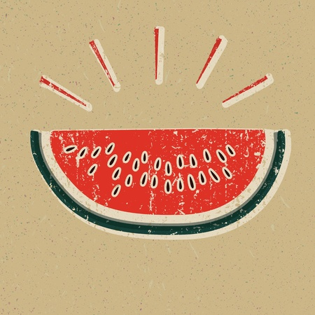 watermelon slice: Watermelon slice printed on yellow paper Illustration