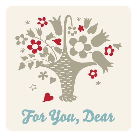 simple meal: Floral gift card Illustration