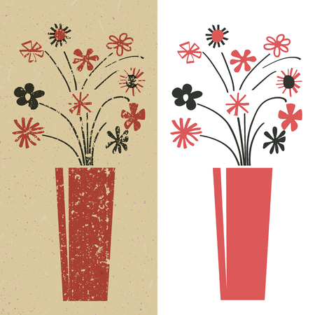 bunch of flowers in red and black, grunge and plain