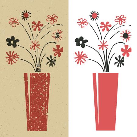 Ramo de flores en rojo y negro, grunge y la llanura Foto de archivo - 24019468