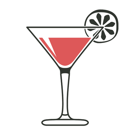 shaken: Cocktail glass with lime slice in black and red