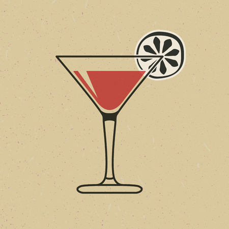 Cocktail glass with lime slice in black and red Vector