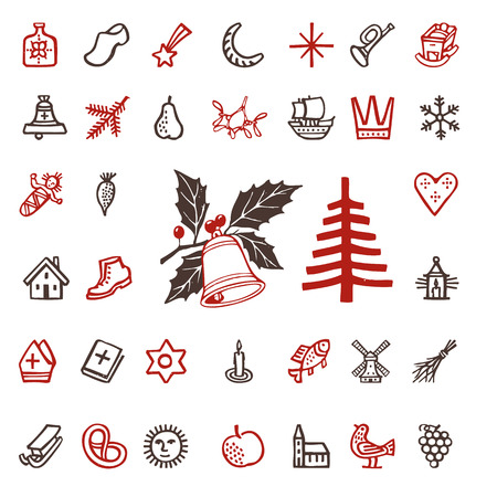 vintage woodcut winter season holidays icons  Vector