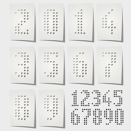 punctuate: Dotted numbers punched on white paper