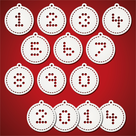 punched: Paper christmas balls with punched numbers Illustration