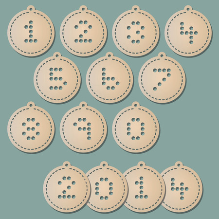 hole puncher: Paper christmas balls with punched numbers Illustration