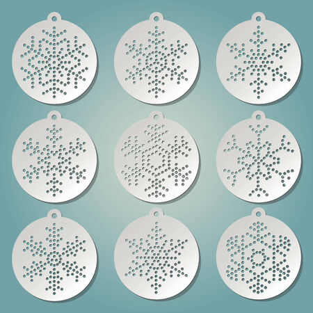 punctuate: Paper christmas balls with punched snow flakes Illustration