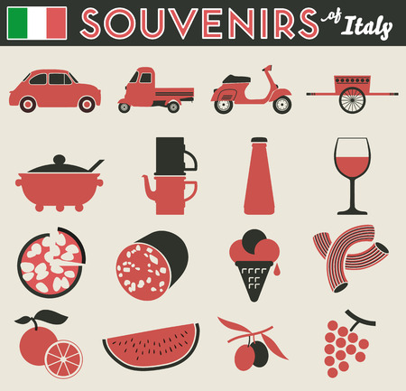 peculiar: Souvenirs of italy  16 flat simple pictogram of peculiar items Illustration