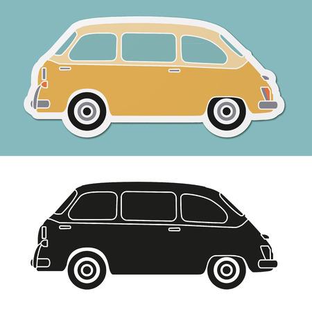 minivan: funny old fashion italian minivan Illustration