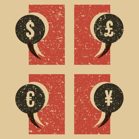 money symbols vintage print Vector