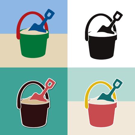 pail and shovel toys set Vector