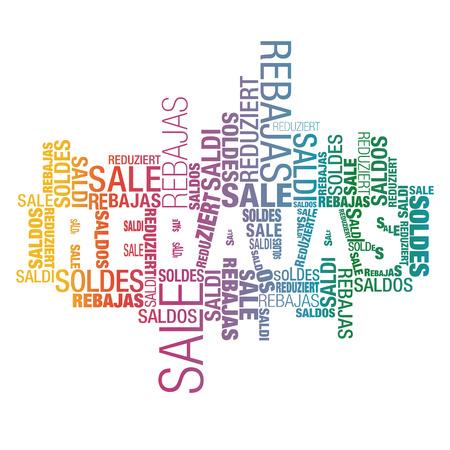 rebates: Anuncia Promocional nube de palabras internacionales espa�oles colores gradiente enfocadas Vectores