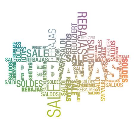 összpontosított: Promóciós hirdet felhő nemzetközi szavak spanyol fókuszált színátmenetek