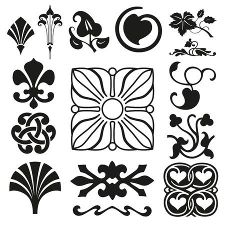 stile liberty: Collezione Retro ornamenti
