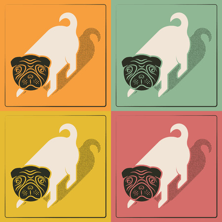 Pop cute little dog vintage print Vector