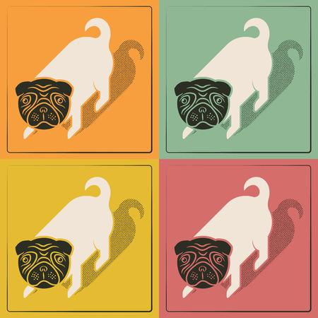 Pop cute little dog vintage print Vector