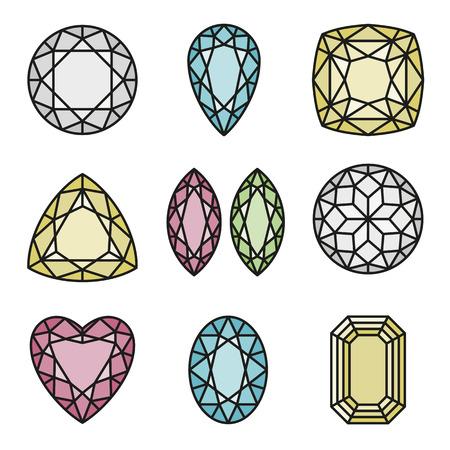 Gemetric pattern of gems cut Vector