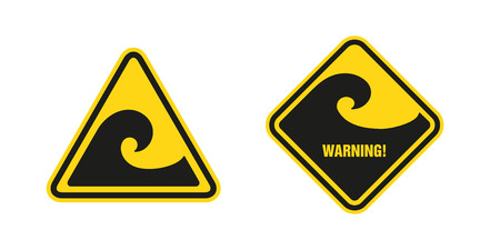 waves hazard warning sign Vector