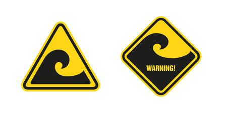 storm tide: waves hazard warning sign
