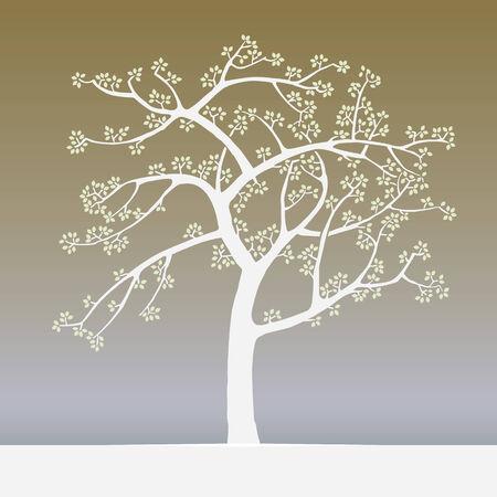 woodblock: springtime tree japan woodblock print style Illustration