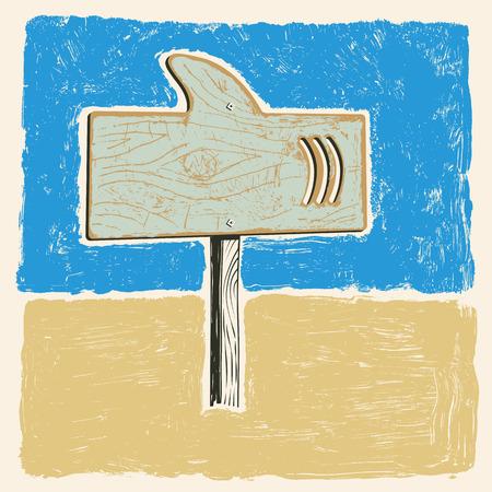 signal pole: signboard in shark shape